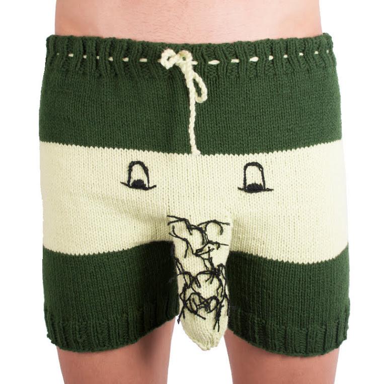 Ručně pletené trenky Infantia zelený chlupák uni