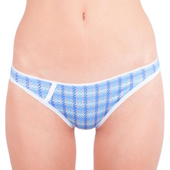 Dámské kalhotky Gina šedé s modro fialovými čárkami
