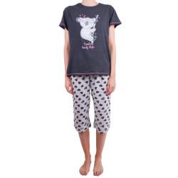 Dámské středně dlouhé pyžamo Molvy šedá koala
