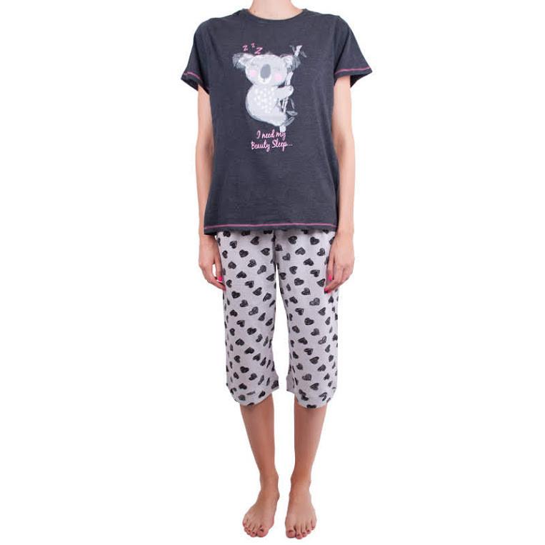 Dámské středně dlouhé pyžamo Molvy koala šedé M