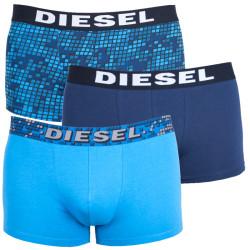 3PACK pánské boxerky Diesel UMBX modré s kostičkami