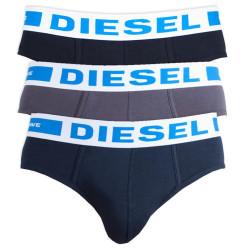3PACK pánské slipy Diesel UMBR černo šedo modré