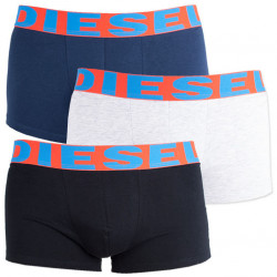 3PACK pánské boxerky Diesel UMBX černo šedo modré s barevnou gumou