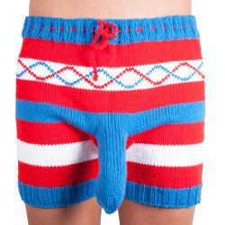 Ručně pletené trenky Infantia červeno modré pruhy
