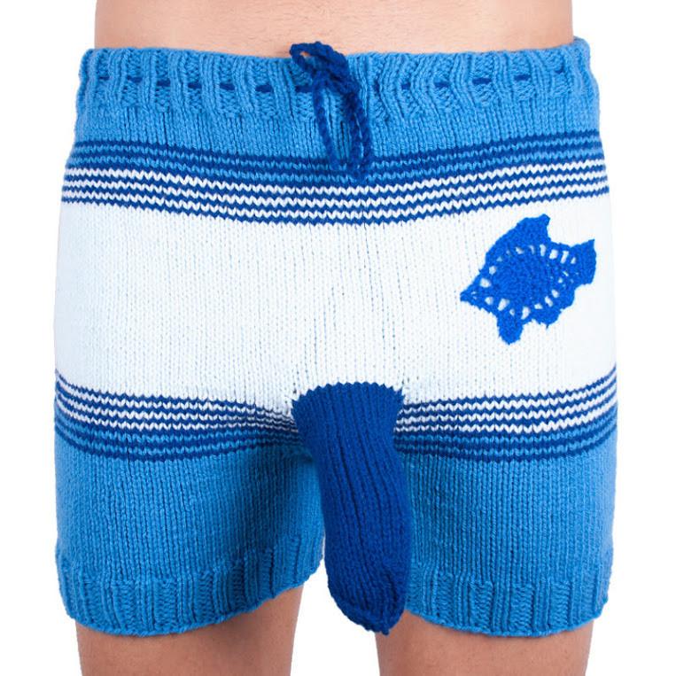 Ručně pletené trenky Infantia modrá rybka uni