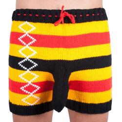 Ručně pletené trenky Infantia žluto černo červené pruhy