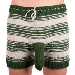 Ručně pletené trenky Infantia tmavě zelené pruhy