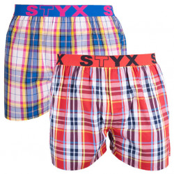 2PACK pánské trenky Styx sportovní guma vícebarevné (2B1)