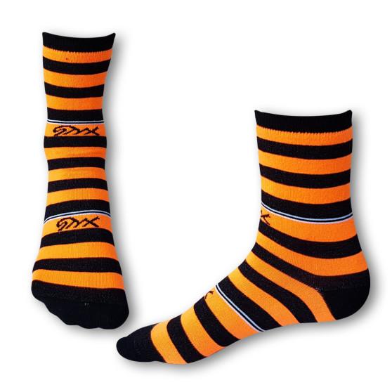 Ponožky Styx crazy oranžovo černé proužky (H325)