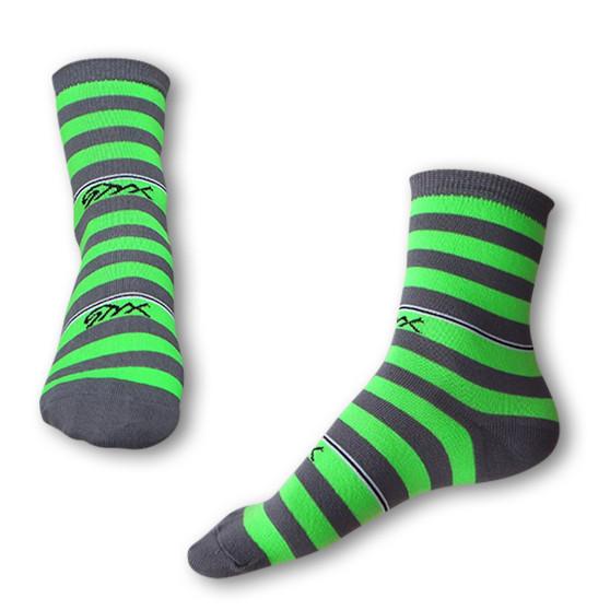 Ponožky Styx crazy šedo zelené proužky (H322)
