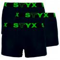 3PACK pánské boxerky Styx sportovní guma černé (G960)