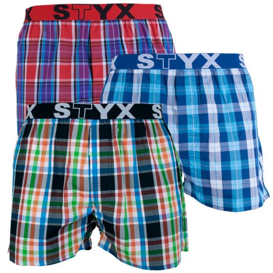 3PACK pánské trenky Styx sportovní guma vícebarevné (B7111219)