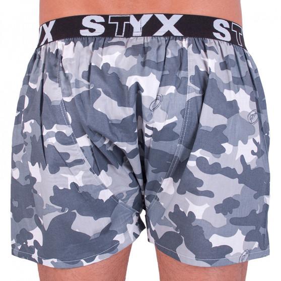 Pánské trenky Styx art sportovní guma šedý maskáč (B656)