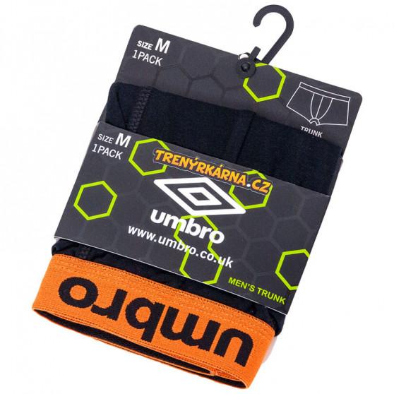 Pánské boxerky Umbro short černé s oranžovou gumou