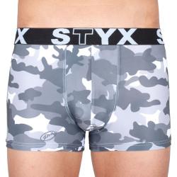 Pánské boxerky Styx art sportovní guma šedý maskáč (G656)