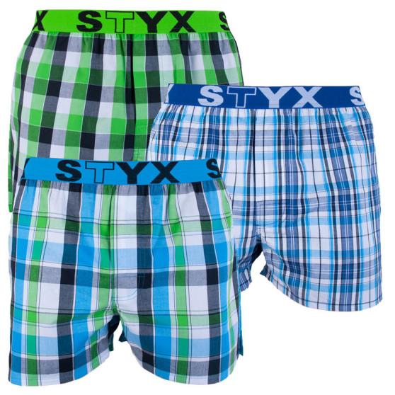 3PACK pánské trenky Styx sportovní guma vícebarevné (B7212224)