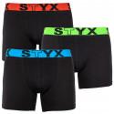 3PACK pánské boxerky Styx long sportovní guma černé (U9646566)