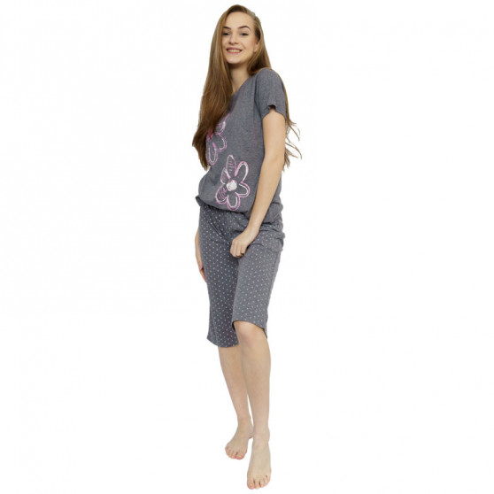 Dámské středně dlouhé pyžamo Molvy šedé (AV-4317)