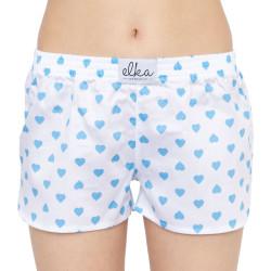Dámské trenky ELKA bílé s modrými srdíčky (D0053 / D2095)