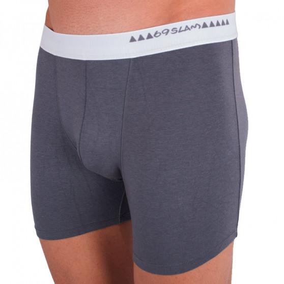 Pánské boxerky 69SLAM fit bamboo plain dark grey