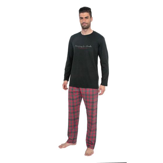 Pánské pyžamo Gino šedo červené (79075)