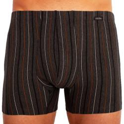 Pánské boxerky Andrie nadrozměr tmavě šedé, hnědé pruhy (PS 5253 C)