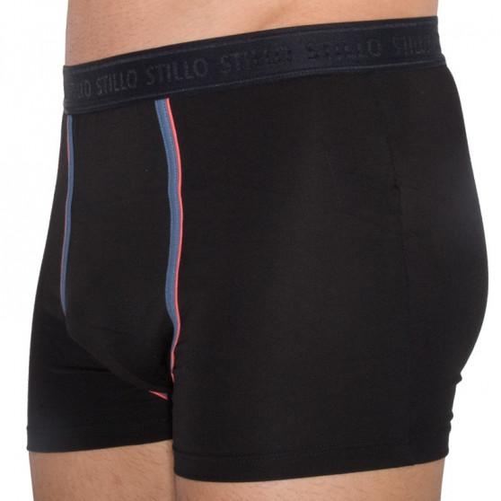 3PACK pánské boxerky Stillo černé s šedým pruhem (STP-0161616)