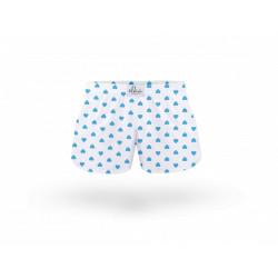 Dětské trenky ELKA bílé s modrými srdíčky (B0053)