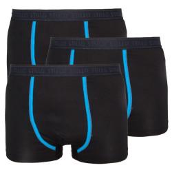 3PACK pánské boxerky Stillo černé s modrým pruhem (STP-0161616)