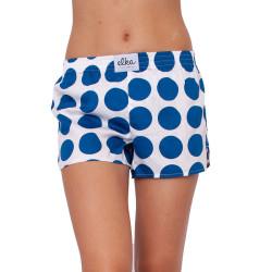 Dámské trenky ELKA bílé s velkými modrými puntíky (D0033)