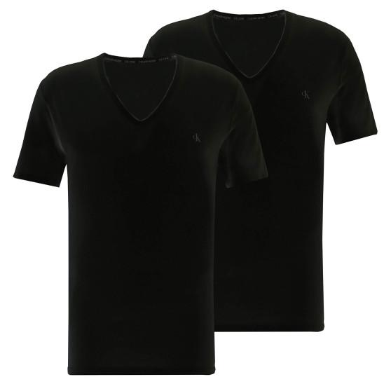 2PACK pánské tričko CK ONE V neck černé (NB2408A-001)