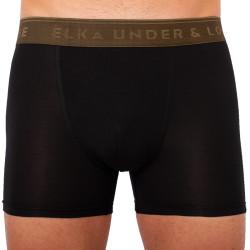 Pánské boxerky ELKA černé s khaki gumou premium (PB051)