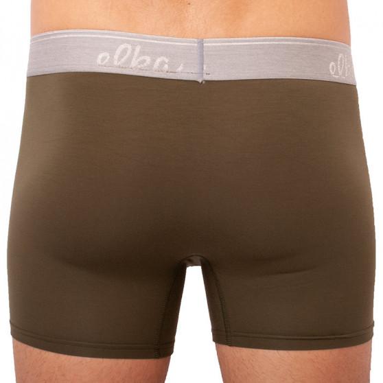 Pánské boxerky ELKA khaki se sv. šedou gumou premium (PB0064)