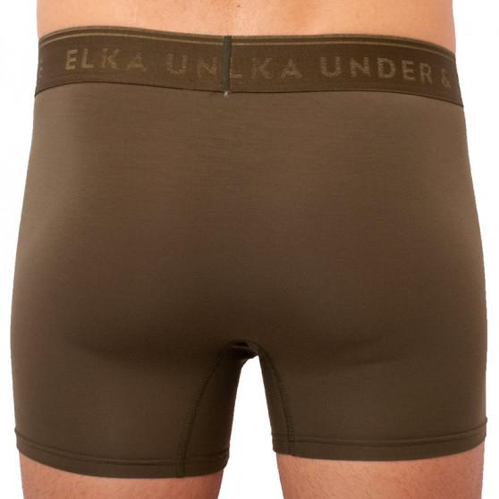 Pánské boxerky ELKA khaki s khaki gumou premium (PB0054)