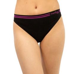 Dámské bambusové kalhotky Gina černé s fialovým pruhem (00025)
