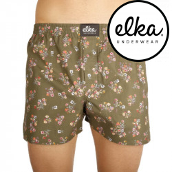 Pánské trenky ELKA khaki kytky (P0024)
