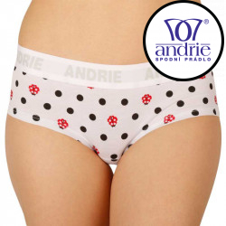 Dámské kalhotky Andrie bílé s puntíky (PS 2408 A)
