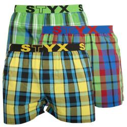 3PACK pánské trenky Styx sportovní guma vícebarevné (B8252730)