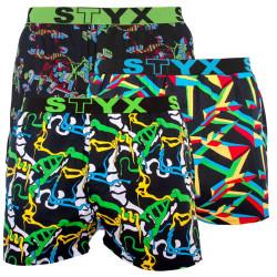 3PACK pánské trenky Styx sportovní guma vícebarevné (B9565758)