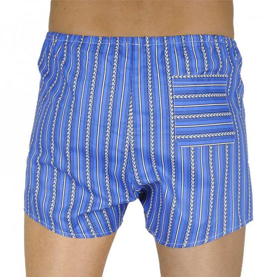 Klasické pánské trenky Foltýn modré s bílým vzorem nadrozměr