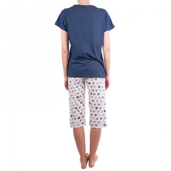 Dámské středně dlouhé pyžamo Molvy modré se srdíčky