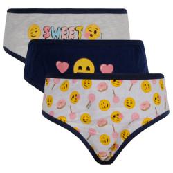 3PACK dívčí kalhotky E plus M Emoji vícebarevné (EM-168)